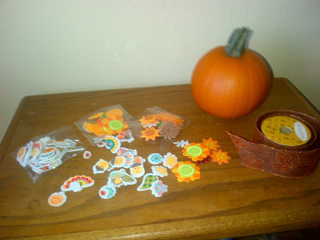 The  correct number of fall stickers were placed in a baggie for each pumpkin  prior to the visit.