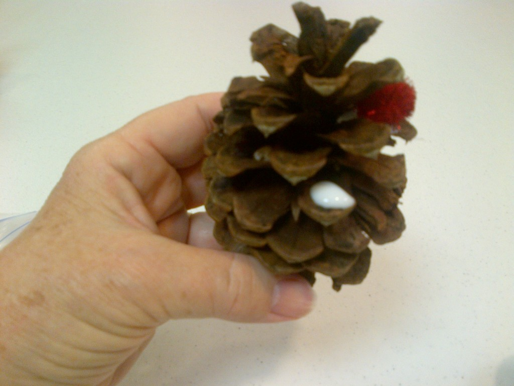 Pine cone with drop of glue