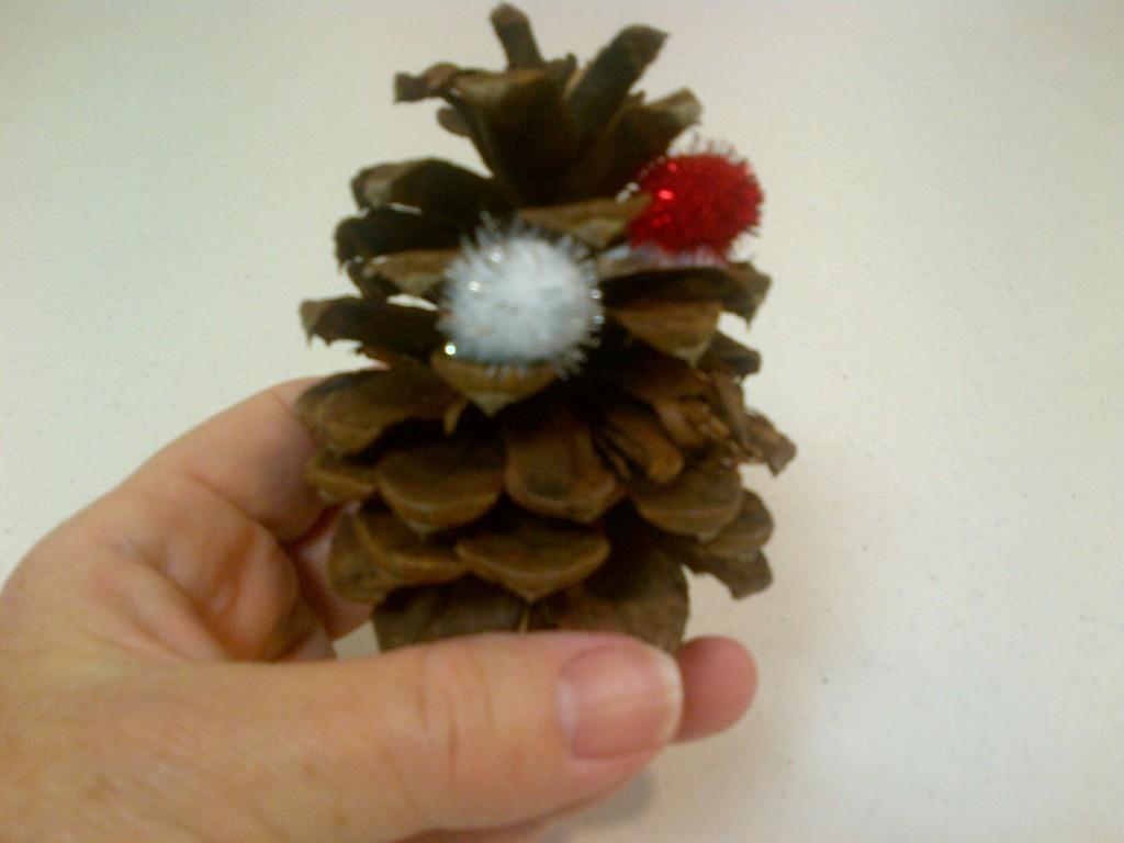 Pine cone with pompom on glue