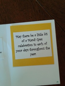 Mardi Gras card saying inside