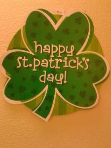 St P shamrock on door