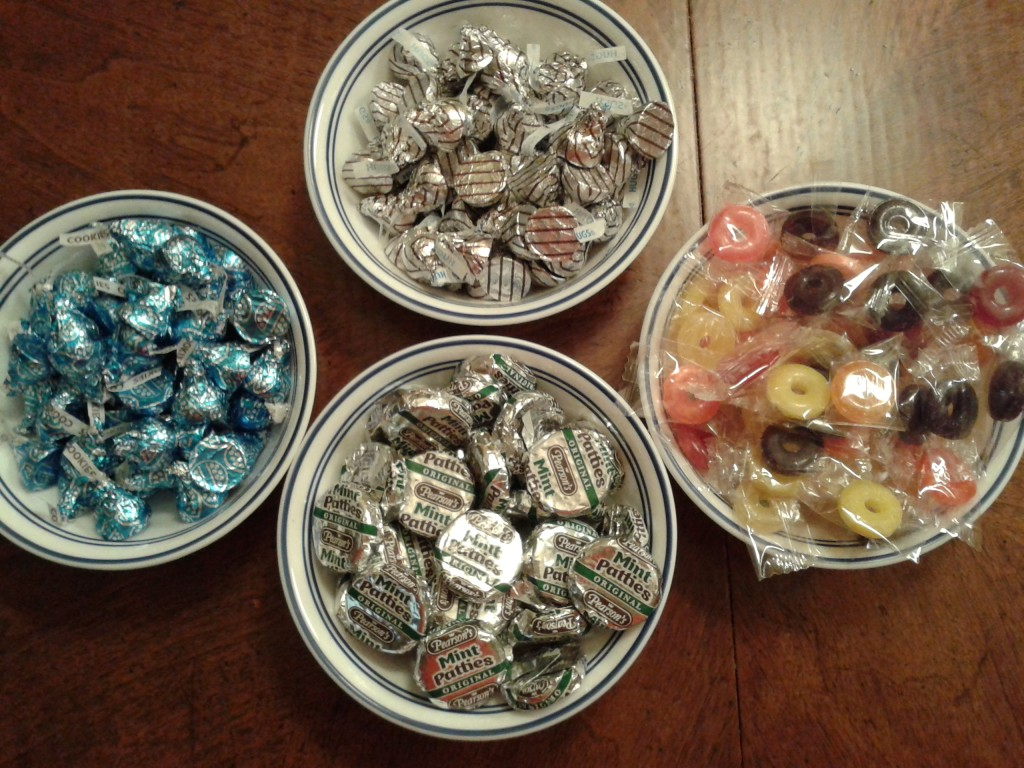 Candy in bowls