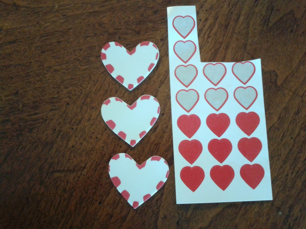 Valentine stickers from store