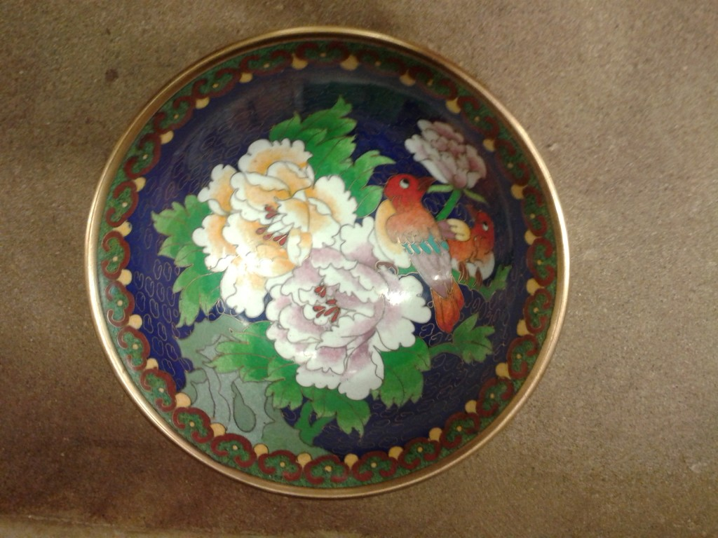 This Cloisonne designed bowl was made in China and purchased during a trip there.