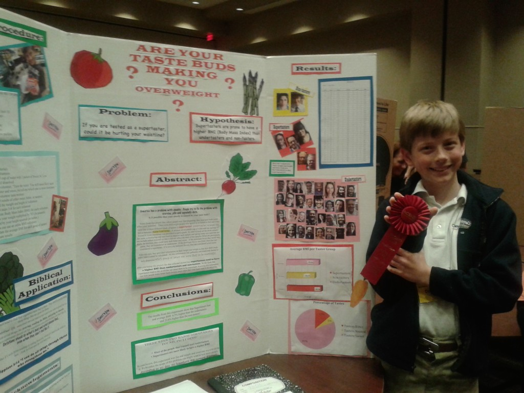 science fair with ribbon